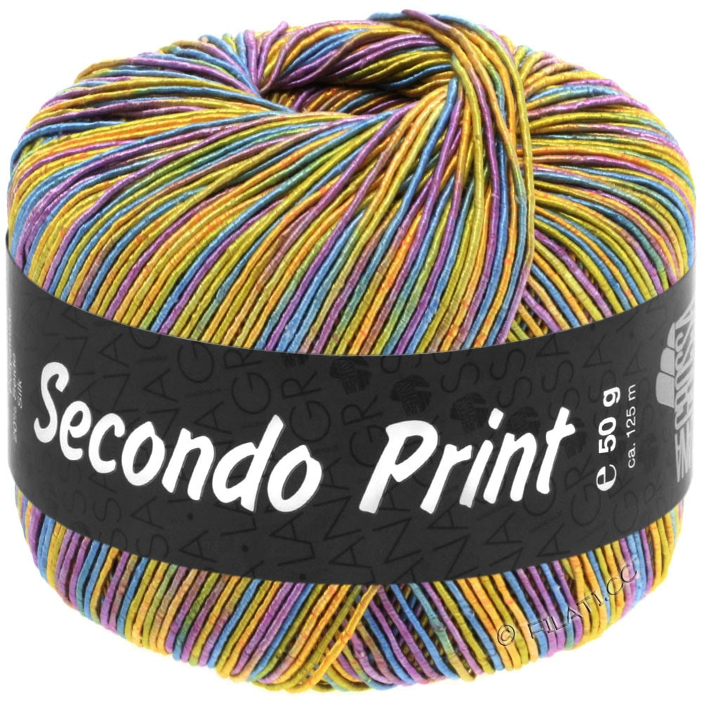 Lana Grossa SECONDO Print II | 518-abricot/jaune doré/bleu turquoise/violet