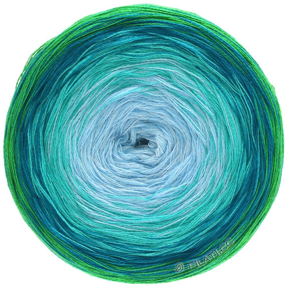 Lana Grossa SHADES OF COTTON | 102-vert/bleu pétrole/vert pétrole/turquoise/bleu clair