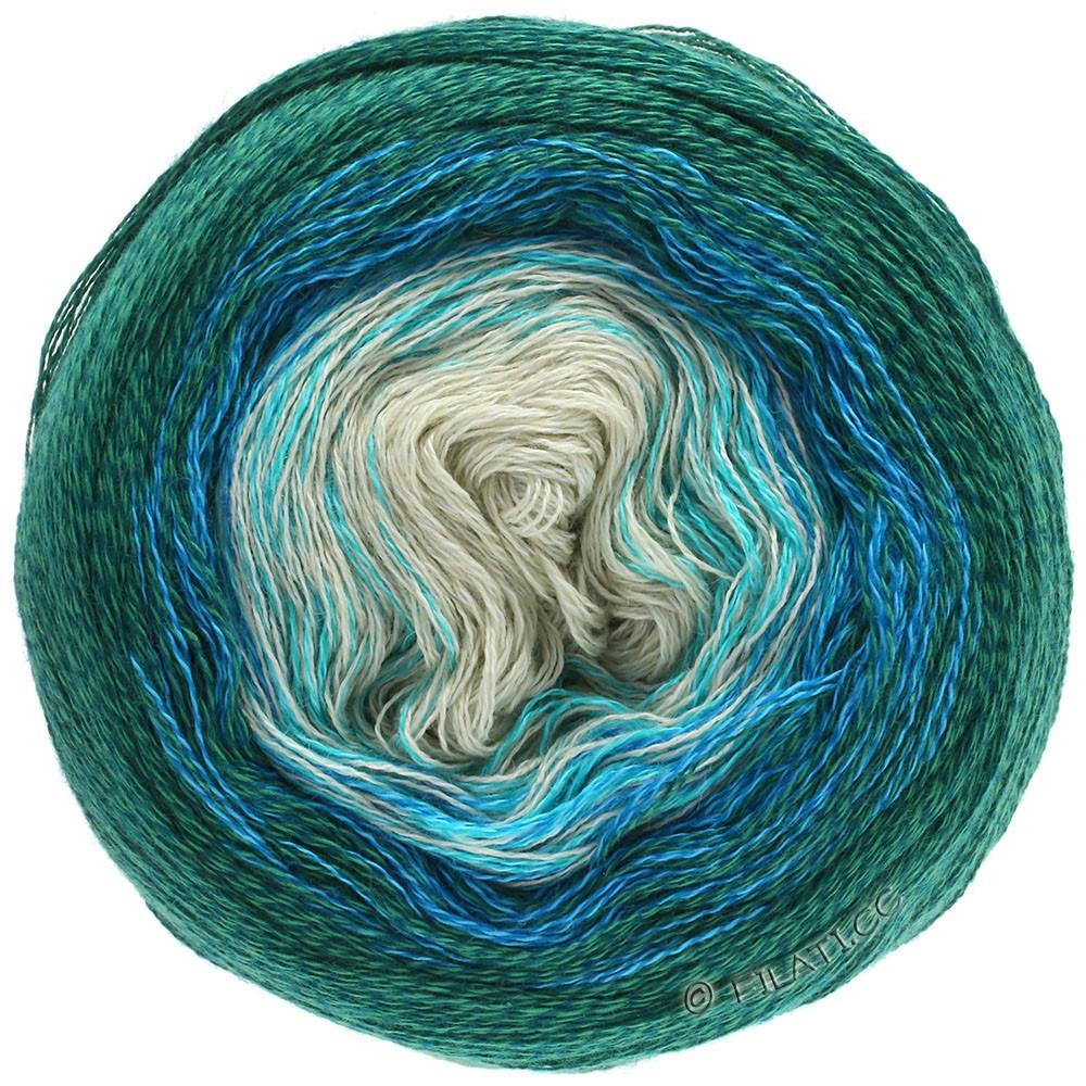 Lana Grossa SHADES OF MERINO COTTON | 401-vert menthe/turquoise/bleu royal/émeraude