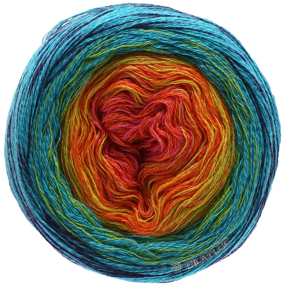 Lana Grossa SHADES OF MERINO COTTON | 601-terre cuite/orange/jaune/turquoise/marine