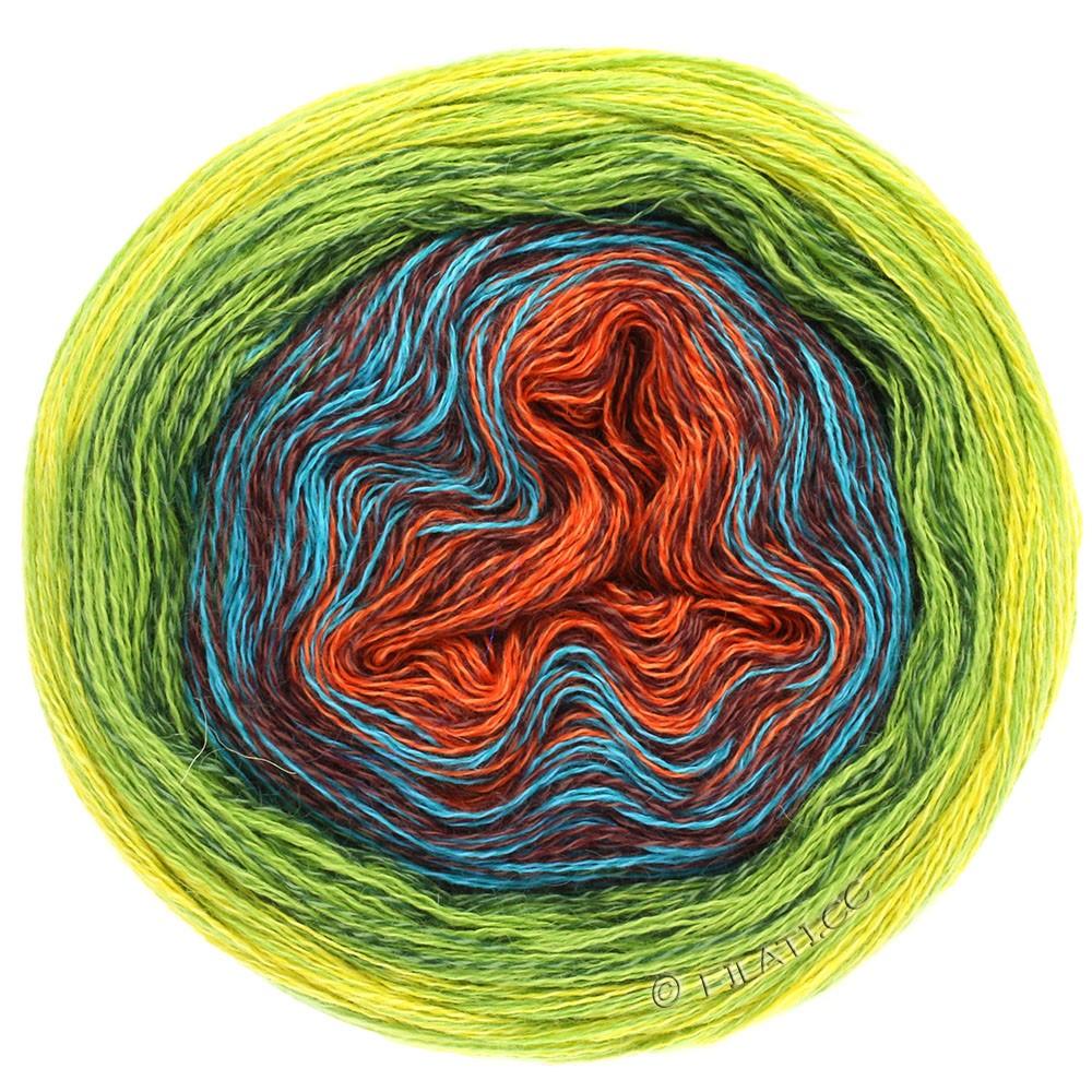 Lana Grossa SHADES OF MERINO COTTON | 602-rouille/brun rouge/turquoise/vert foncé/vert clair/jaune