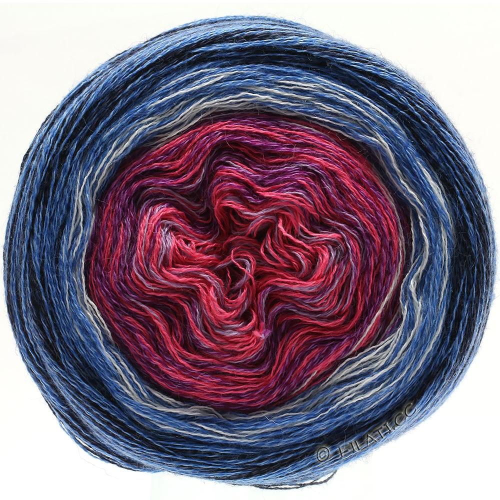 Lana Grossa SHADES OF MERINO COTTON | 604-rose vif lilas/violet/blanc/bleu moyen/bleu/noir