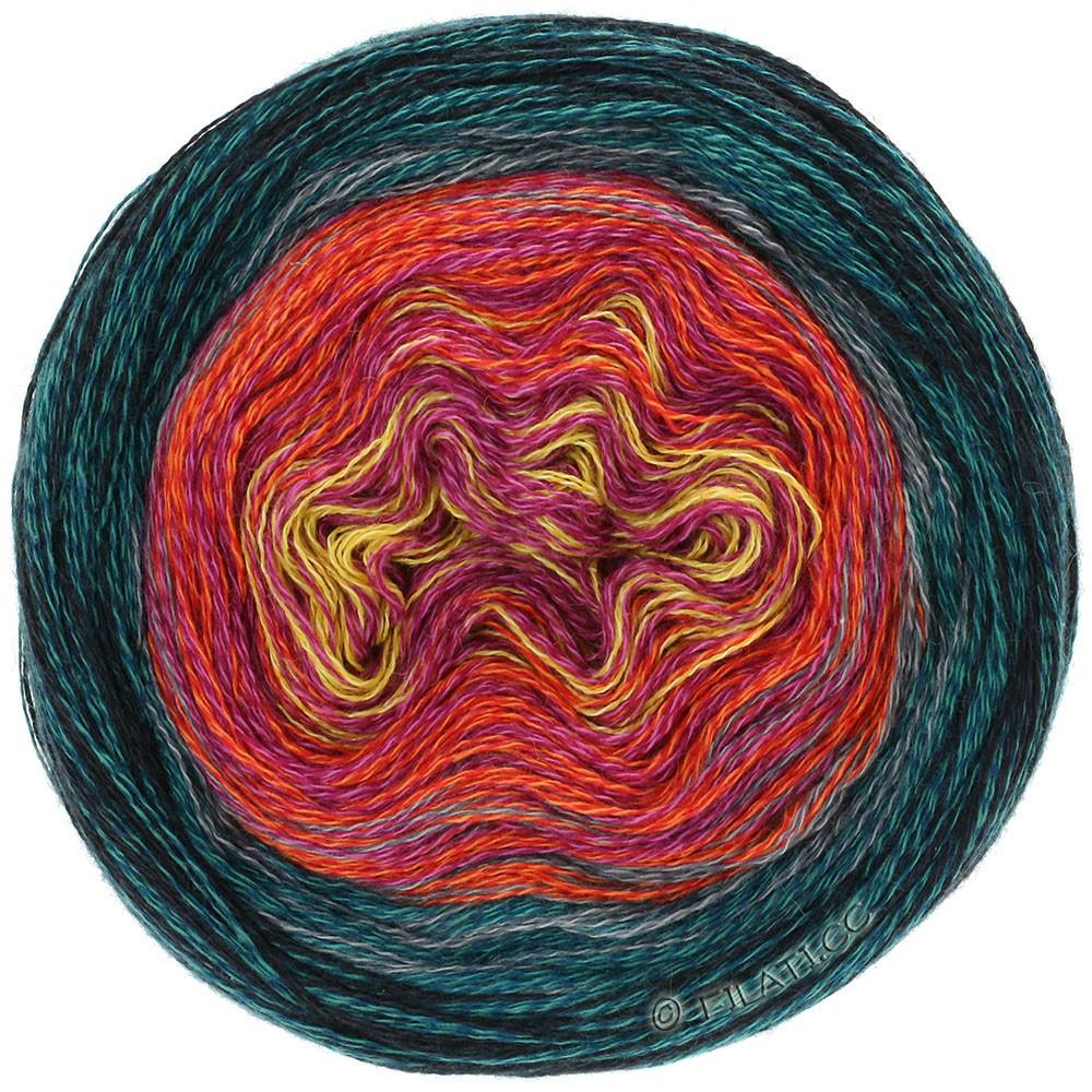 Lana Grossa SHADES OF MERINO COTTON | 608-jaune/rose vif/rouge tomate/bleu acier/noir