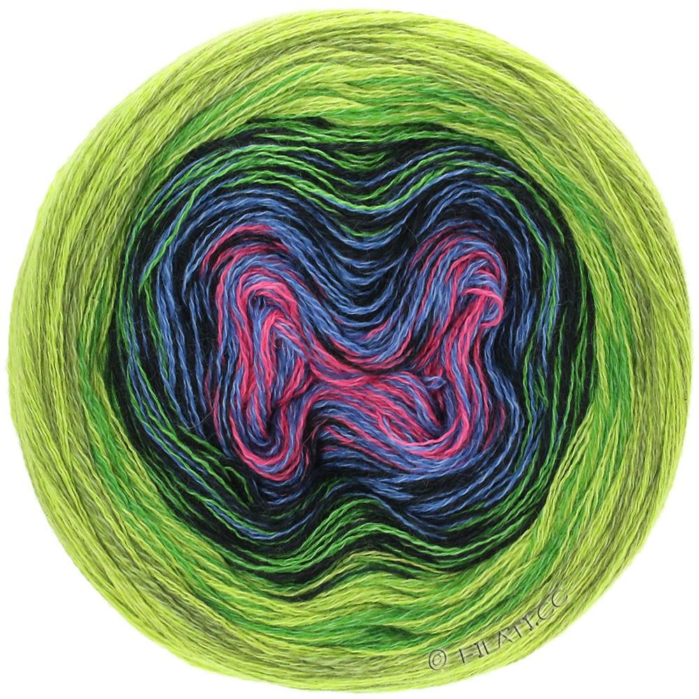 Lana Grossa SHADES OF MERINO COTTON | 610-rose vif/jean/noir/feuille verte/vert clair