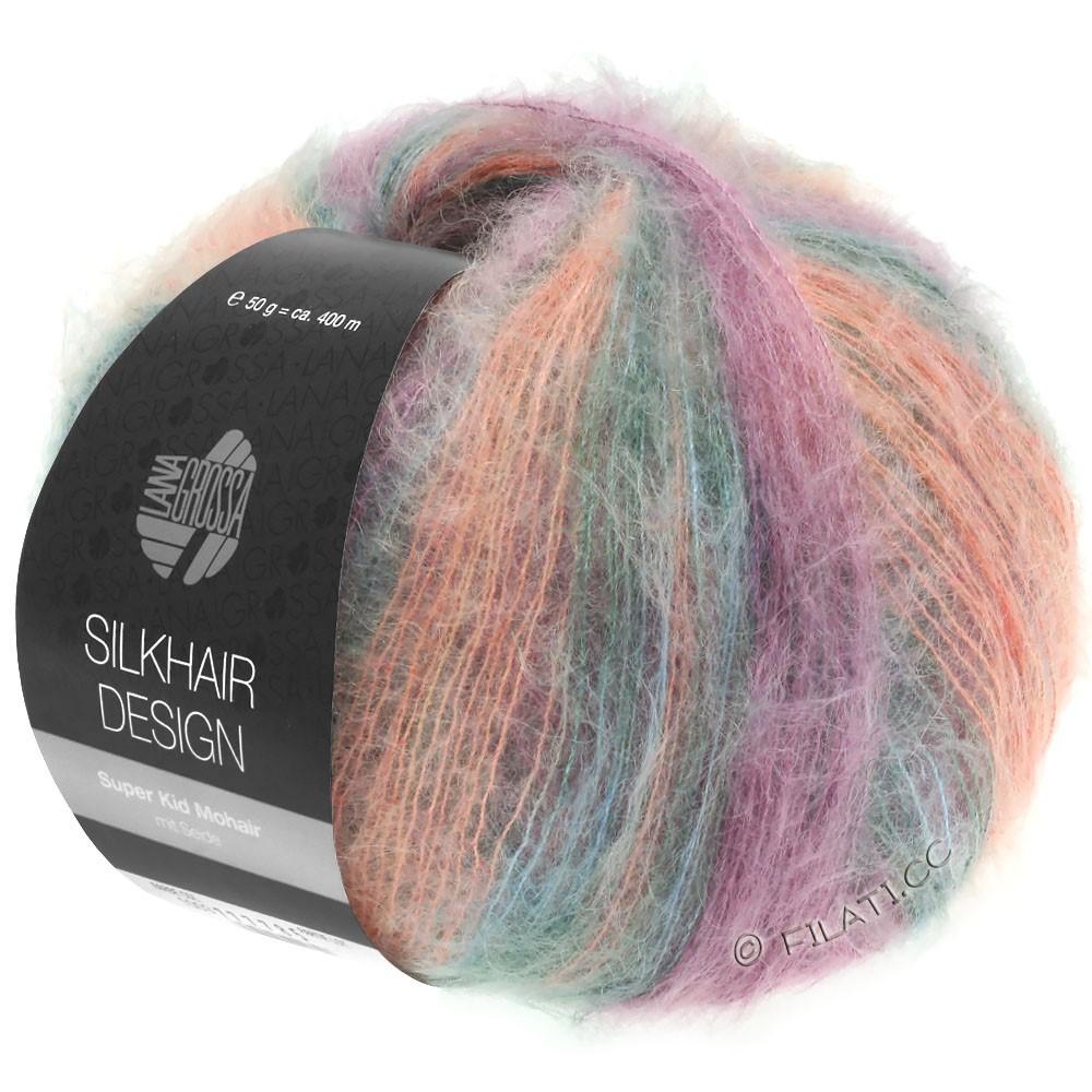 Lana Grossa SILKHAIR Design | 1001-rose saumon/violet rouge/gris nacré/graphite