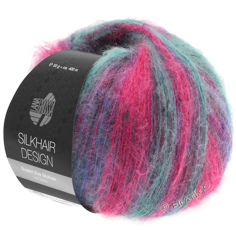 Lana Grossa SILKHAIR Design | 1004-rose vif/mûre/pétrole/violet bleu