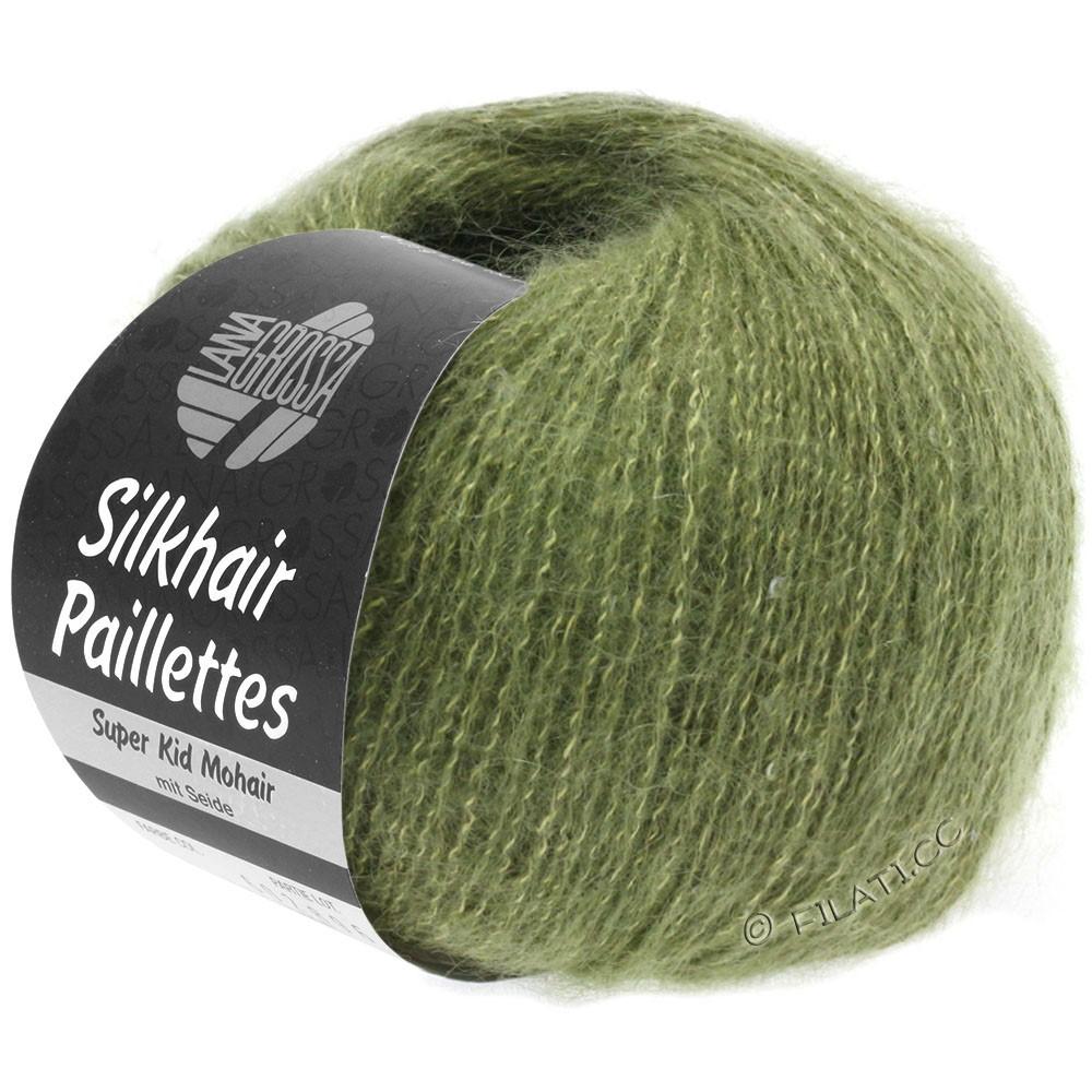 Lana Grossa SILKHAIR Paillettes | 411-vert kaki