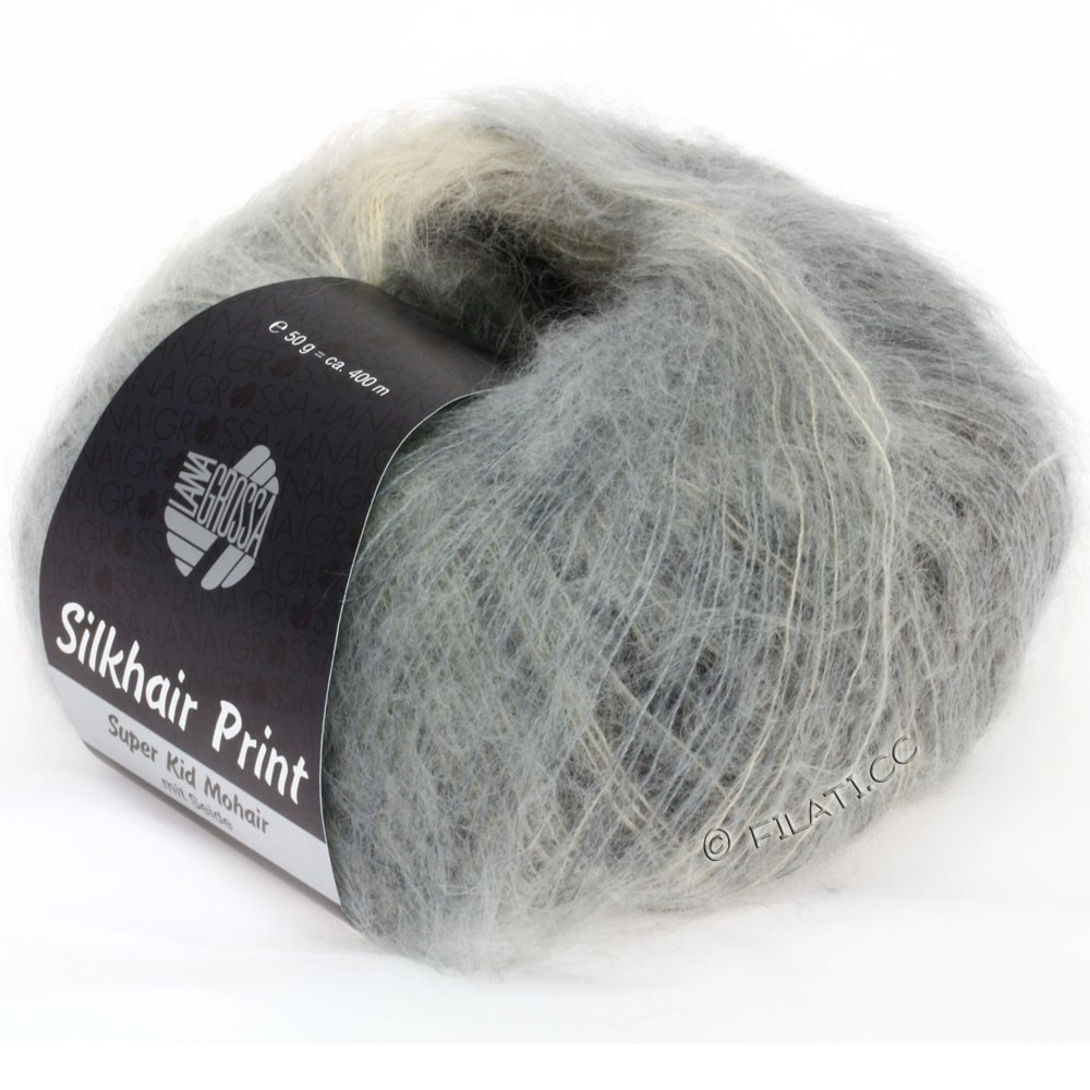 Lana Grossa SILKHAIR Print | 306-grège/gris/anthracite