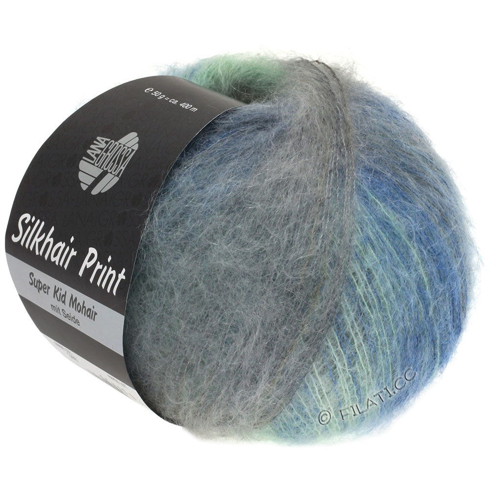 Lana Grossa SILKHAIR Print | 347-bleu clair/menthe/beige gris/gris
