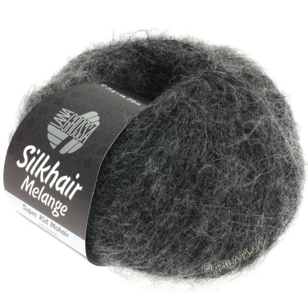 Lana Grossa SILKHAIR  Uni/Melange | 719-noir/gris chiné