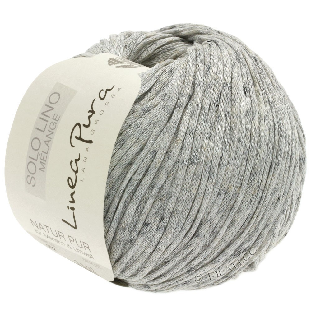 Lana Grossa SOLO LINO MELANGE (Linea Pura) | 102-nature/gris chiné