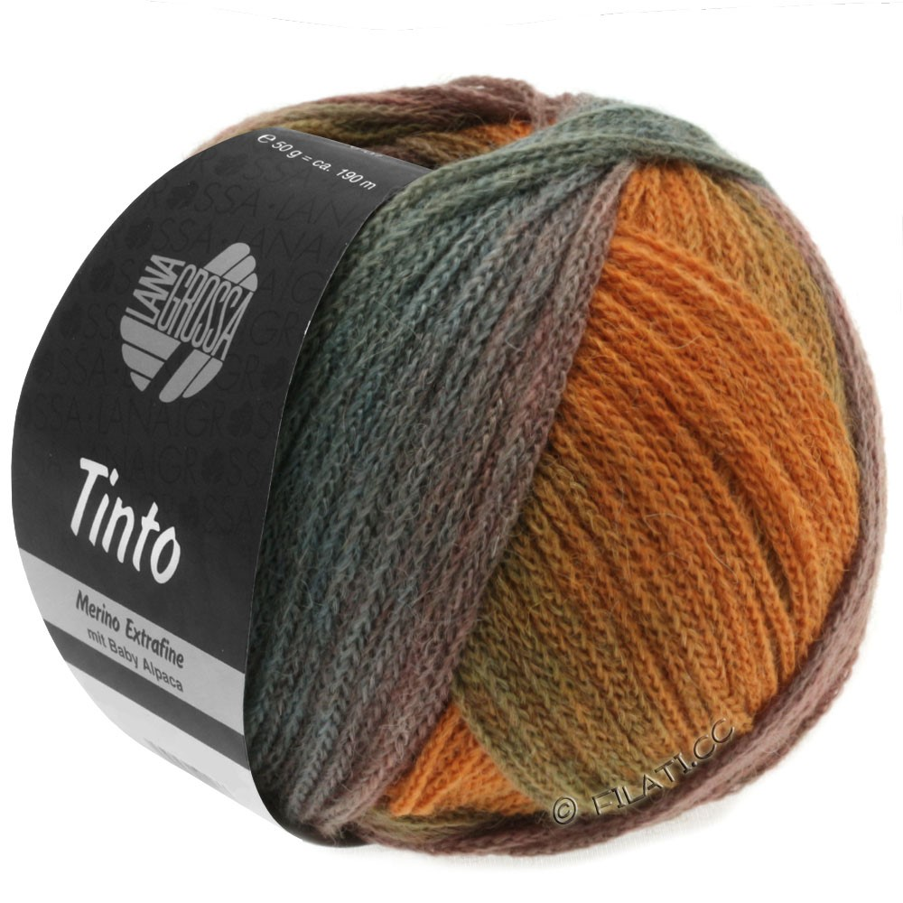 Lana Grossa TINTO   03-pétrole/rouille/vert/turquoise/olive/kaki