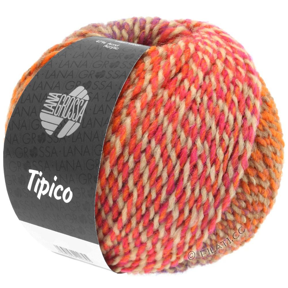 Lana Grossa TIPICO | 03-orange/chameau/rose/rouge tomate