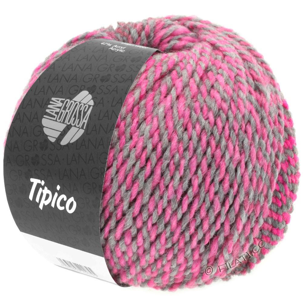 Lana Grossa TIPICO   04-gris foncé/rose vif/framboise/gris clair