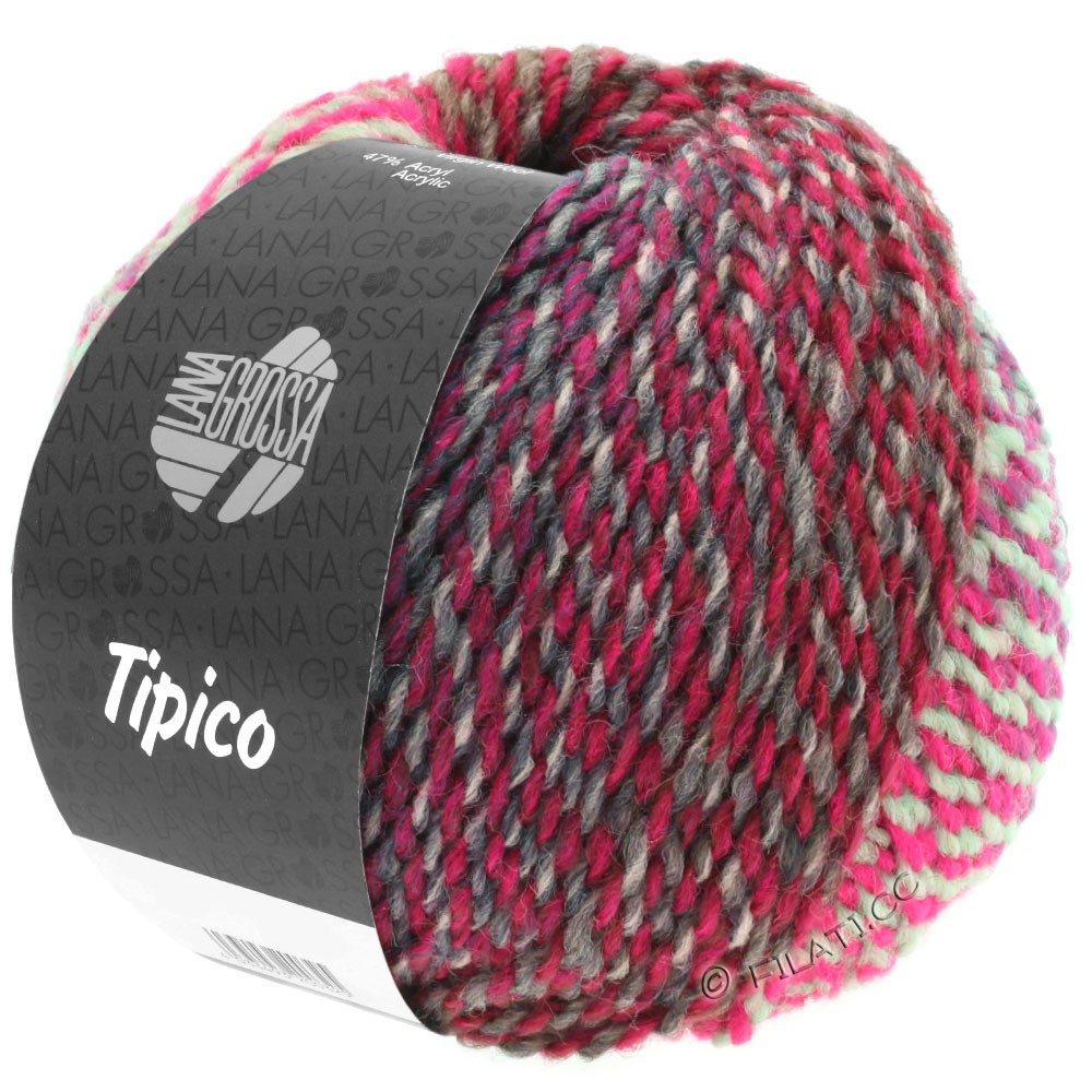 Lana Grossa TIPICO | 09-gris clair/gris foncé/rose vif