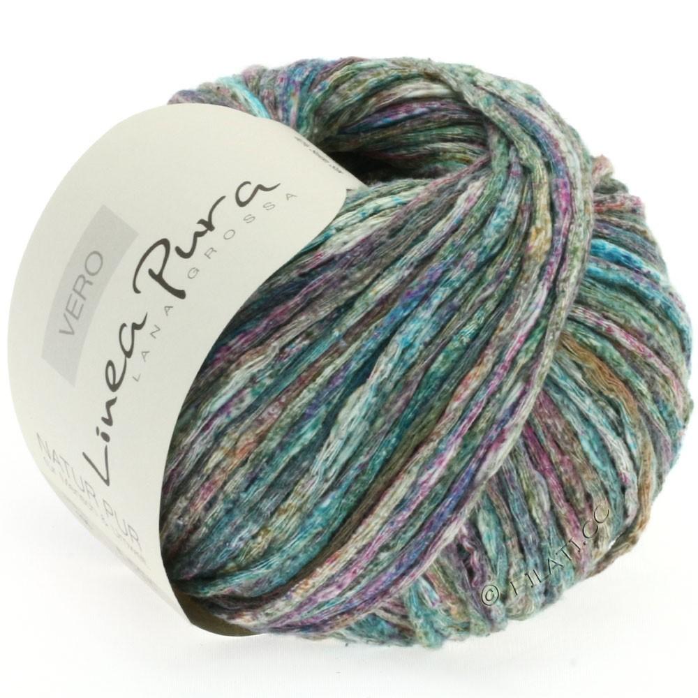 Lana Grossa VERO uni/print (Linea Pura) | 105-vert foncé/turquoise/violet/menthe