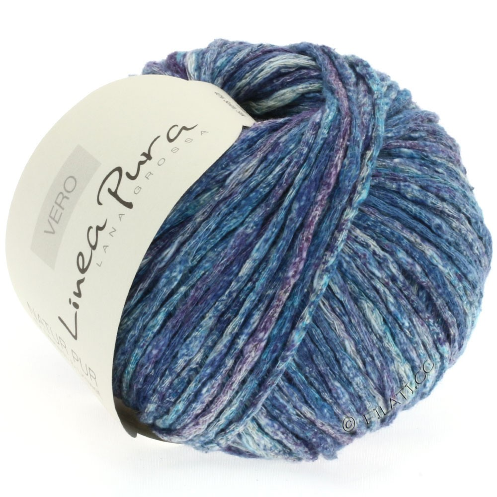 Lana Grossa VERO uni/print (Linea Pura) | 106-bleu pétrole/violet/nature/jean