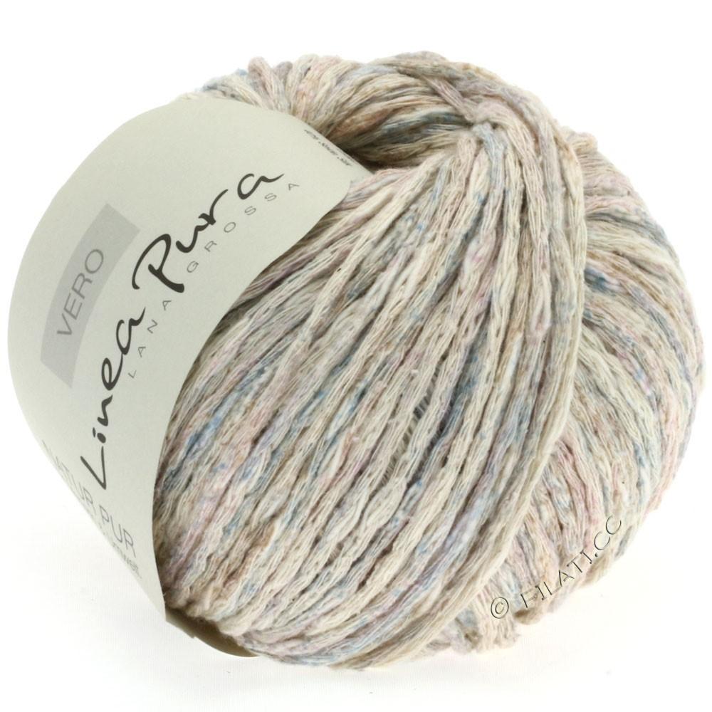 Lana Grossa VERO uni/print (Linea Pura) | 109-nature/roseau/bleu clair/lilas