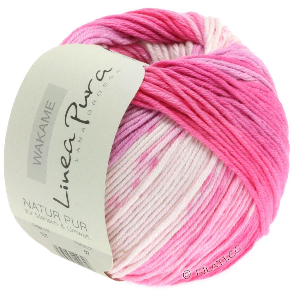 Lana Grossa WAKAME Uni/Print (Linea Pura) | 101-blanc/rose/rose vif