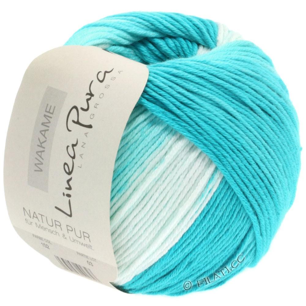 Lana Grossa WAKAME Uni/Print (Linea Pura) | 102-blanc/turquoise clair/turquoise