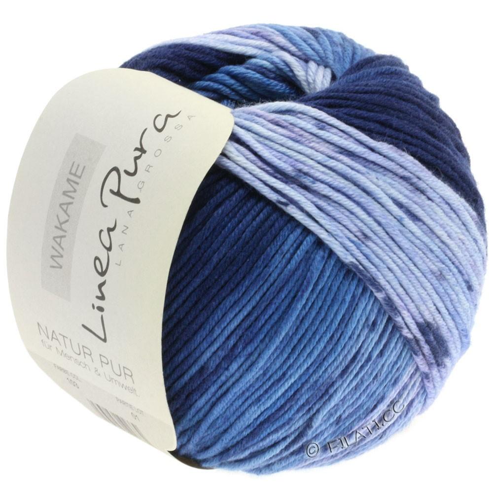 Lana Grossa WAKAME Uni/Print (Linea Pura) | 103-bleu tendre/bleu clair/bleu moyen/marine/bleu nuit