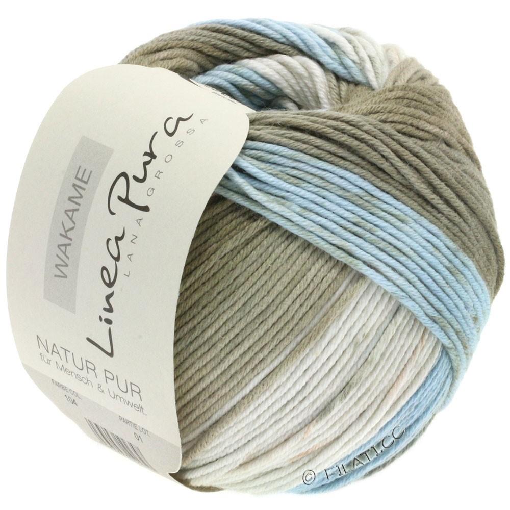 Lana Grossa WAKAME Uni/Print (Linea Pura) | 104-nature/bleu gris/grège/roseau
