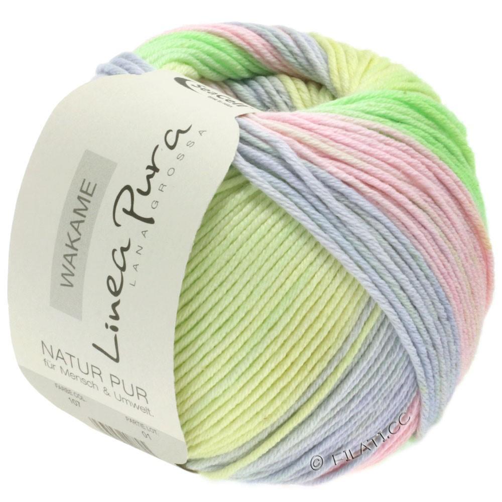 Lana Grossa WAKAME Uni/Print (Linea Pura) | 107-rose/gris clair/vanille/vert clair/lilas