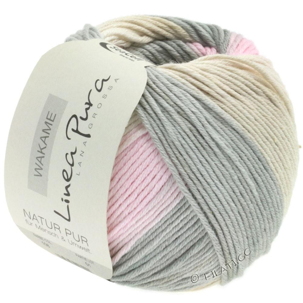Lana Grossa WAKAME Uni/Print (Linea Pura) | 108-gris foncé/rose/beige/sable