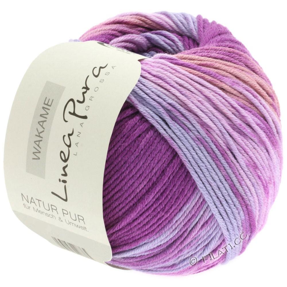 Lana Grossa WAKAME Uni/Print (Linea Pura) | 111-bleu comme violettes/violet foncé/rose lilas