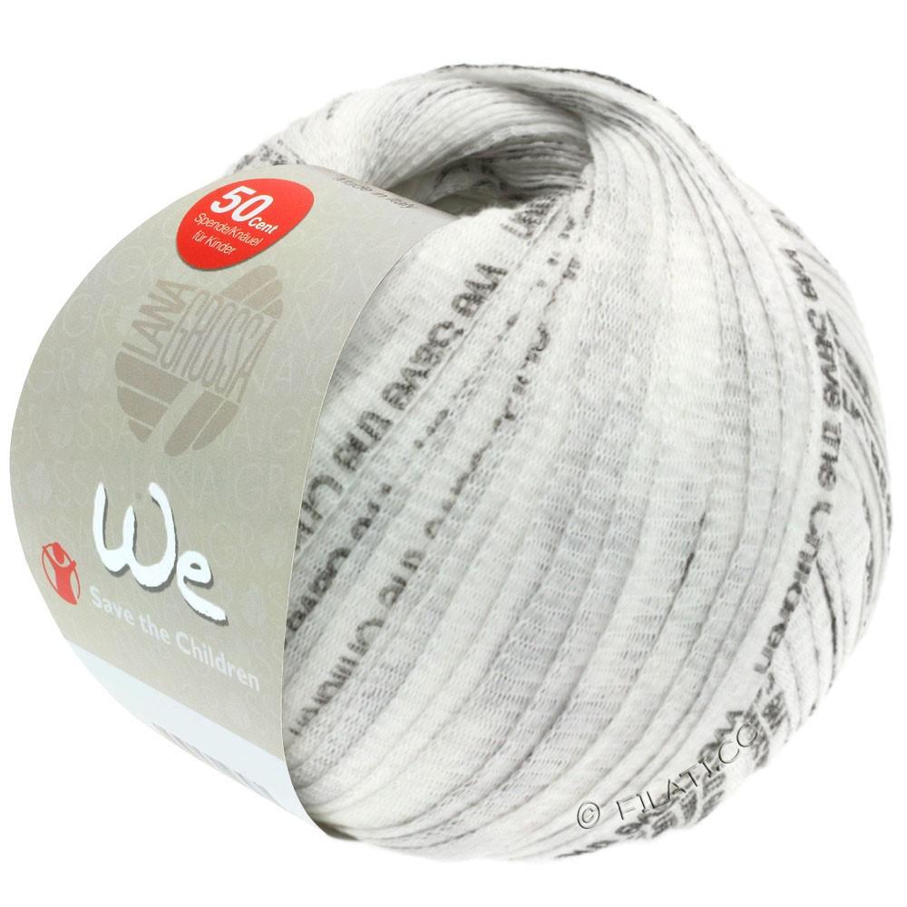 Lana Grossa WE | 102-blanc/gris foncé avec l'écriture