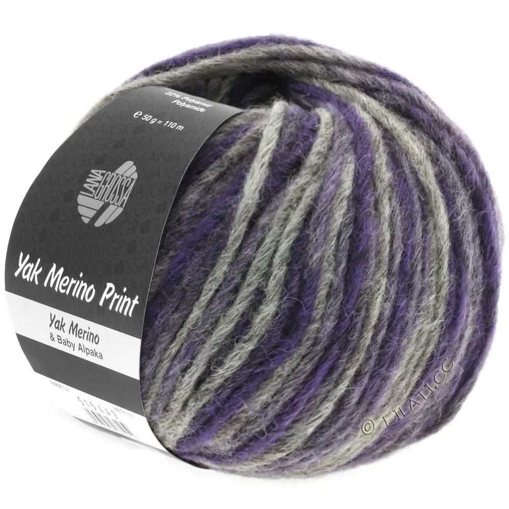 Lana Grossa YAK MERINO Print | 102-violet bleu/gris foncé chiné
