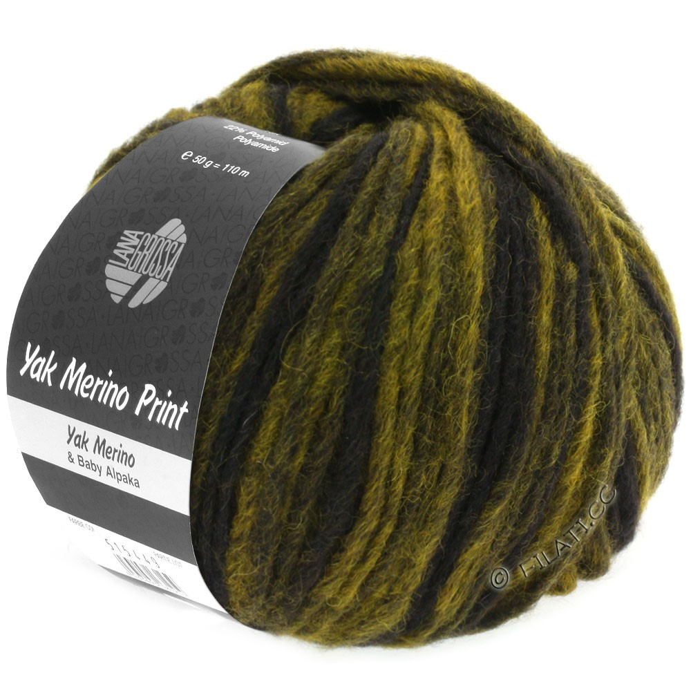 Lana Grossa YAK MERINO | 107-curry/brun noir chiné