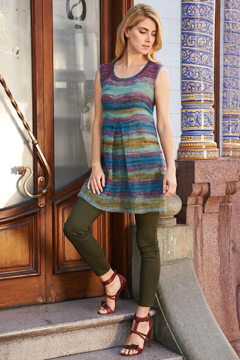 Lana Grossa MINI ROBE AVEC DES PLIS EN JERSEY ENDROIT Silkhair Print