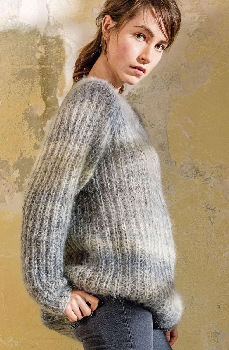 Lana Grossa PULL EN DEMI-CÔTES ANGLAISES AVEC UN COL ROND Silkhair Print