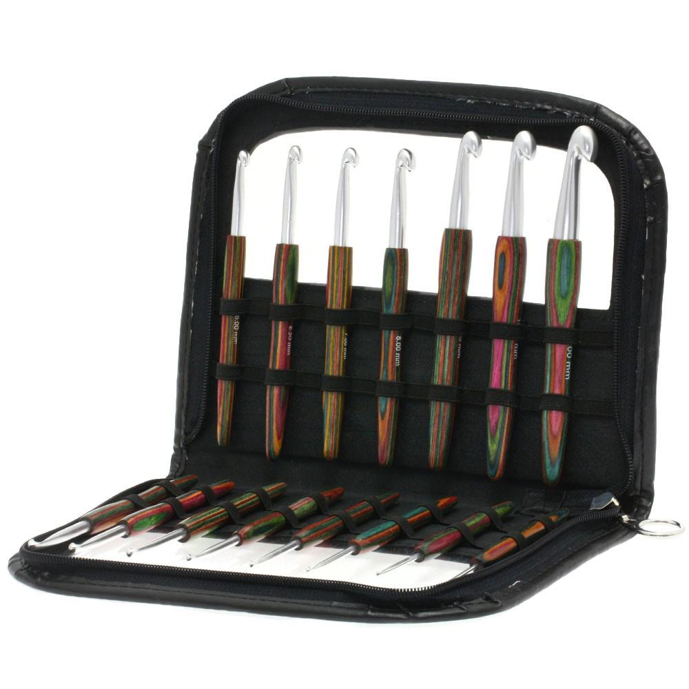 Lana Grossa Ensemble des aiguilles à crochet  avec manche en bois design en bois Color