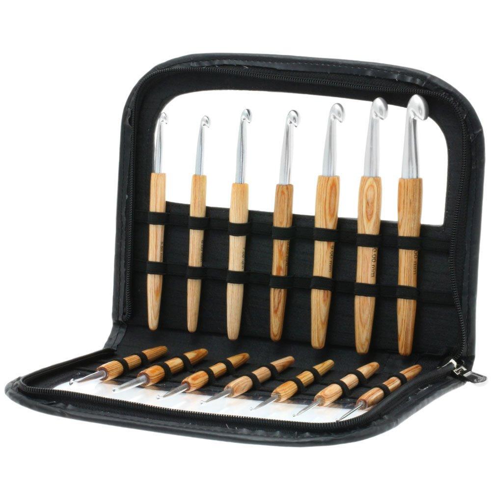 Lana Grossa Ensemble des aiguilles à crochet  avec manche en bois design en bois Natur